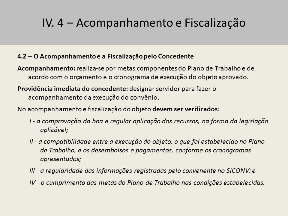 IV. 4 – Acompanhamento e Fiscalização 4.2 – O Acompanhamento e a Fiscalização pelo Concedente Acompanhamento: realiza-se por metas componentes do Plan