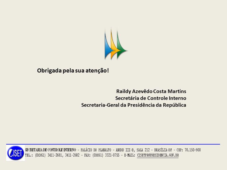 Obrigada pela sua atenção! Raildy Azevêdo Costa Martins Secretária de Controle Interno Secretaria-Geral da Presidência da República
