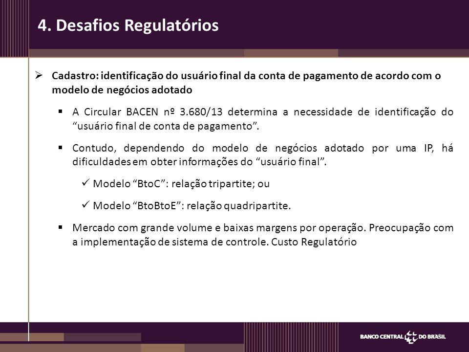 Cadastro: identificação do usuário final da conta de pagamento de acordo com o modelo de negócios adotado  A Circular BACEN nº 3.680/13 determina a