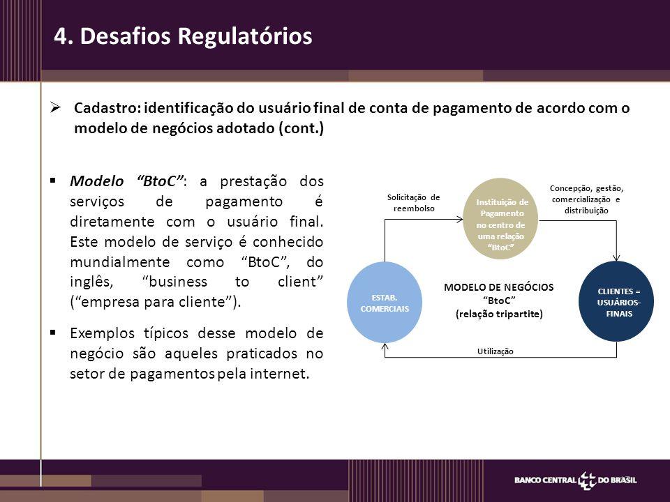  Cadastro: identificação do usuário final de conta de pagamento de acordo com o modelo de negócios adotado (cont.) 17 4. Desafios Regulatórios  Mode