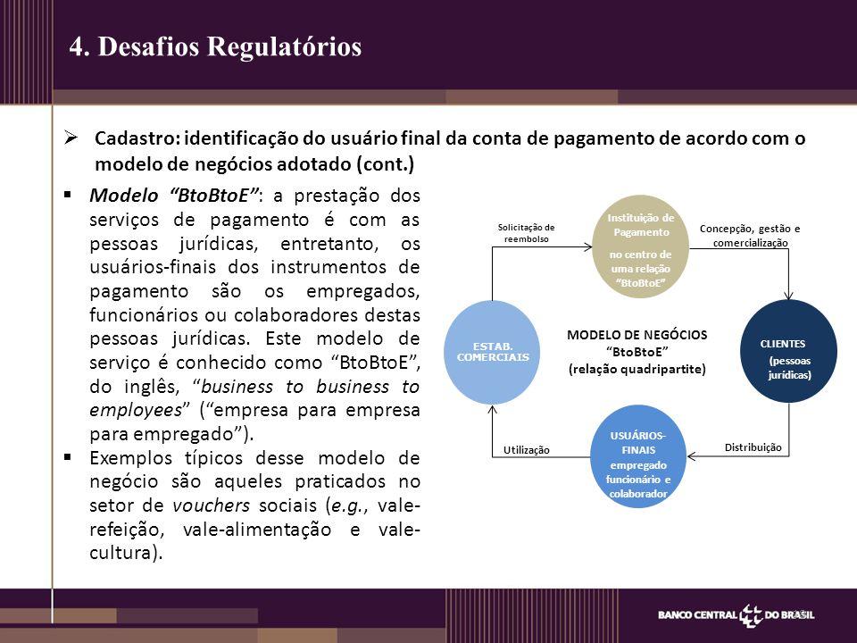  Cadastro: identificação do usuário final da conta de pagamento de acordo com o modelo de negócios adotado (cont.) 18 4. Desafios Regulatórios  Mode