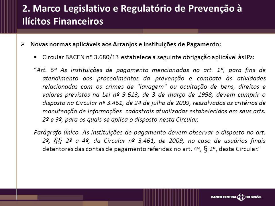 """ Novas normas aplicáveis aos Arranjos e Instituições de Pagamento:  Circular BACEN nº 3.680/13 estabelece a seguinte obrigação aplicável às IPs: """"Ar"""