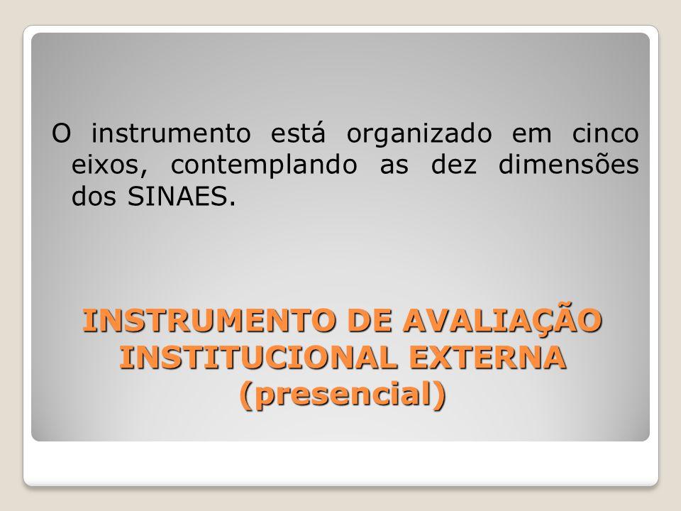 INSTRUMENTO DE AVALIAÇÃO INSTITUCIONAL EXTERNA (presencial) O instrumento está organizado em cinco eixos, contemplando as dez dimensões dos SINAES.