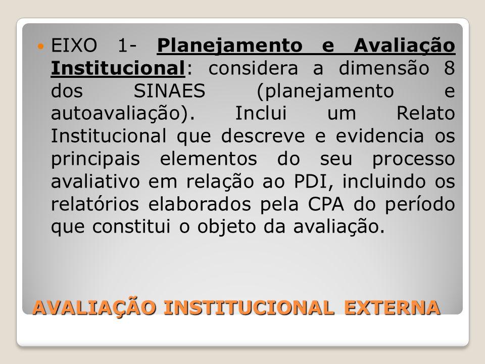 AVALIAÇÃO INSTITUCIONAL EXTERNA EIXO 1- Planejamento e Avaliação Institucional: considera a dimensão 8 dos SINAES (planejamento e autoavaliação). Incl