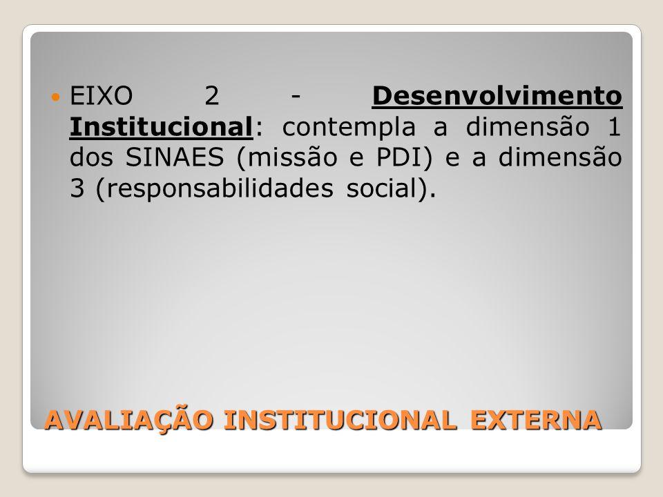 AVALIAÇÃO INSTITUCIONAL EXTERNA EIXO 2 - Desenvolvimento Institucional: contempla a dimensão 1 dos SINAES (missão e PDI) e a dimensão 3 (responsabilid