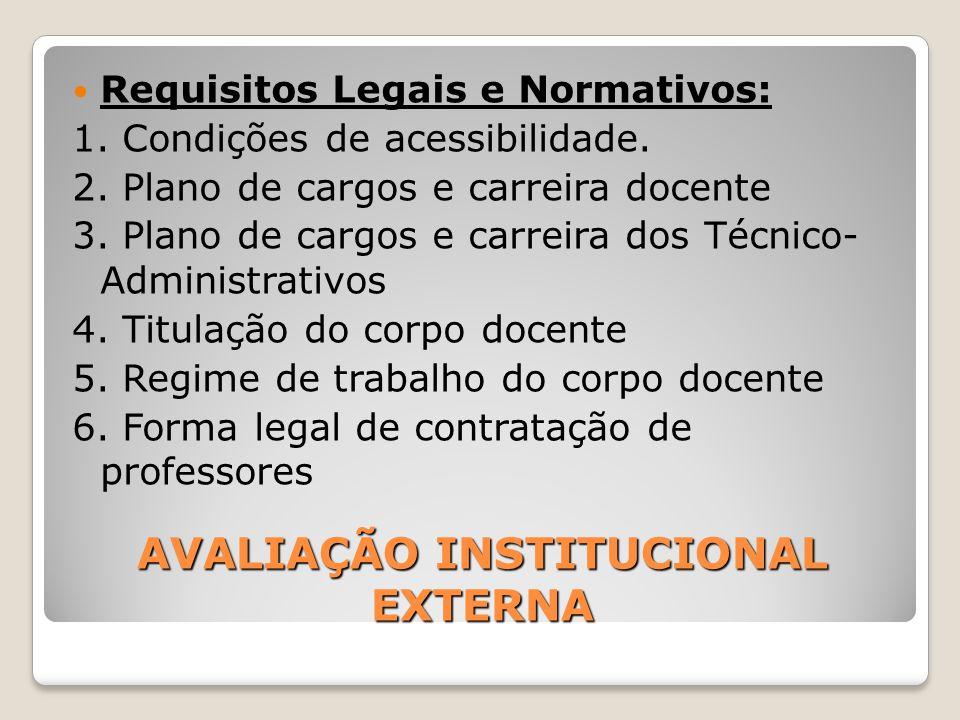 AVALIAÇÃO INSTITUCIONAL EXTERNA Requisitos Legais e Normativos: 1. Condições de acessibilidade. 2. Plano de cargos e carreira docente 3. Plano de carg