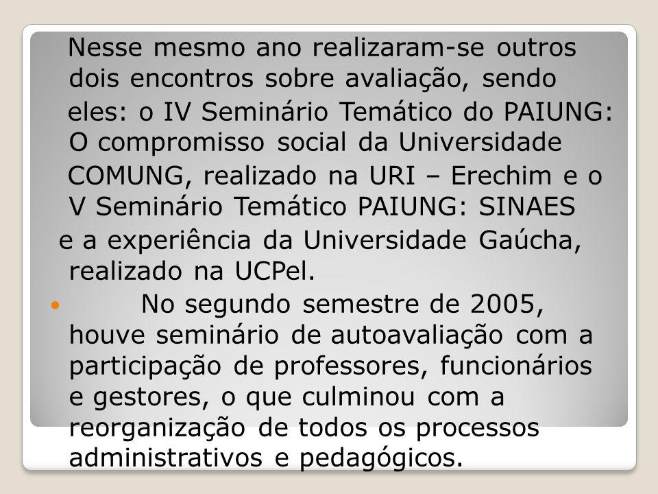 Nesse mesmo ano realizaram-se outros dois encontros sobre avaliação, sendo eles: o IV Seminário Temático do PAIUNG: O compromisso social da Universida