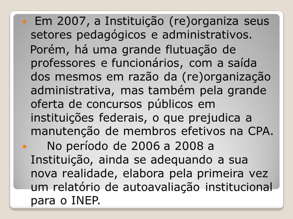 Em 2007, a Instituição (re)organiza seus setores pedagógicos e administrativos. Porém, há uma grande flutuação de professores e funcionários, com a sa