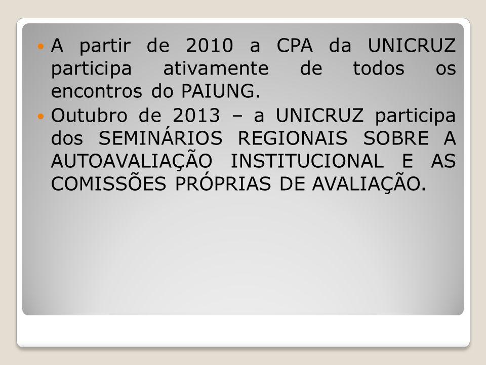 A partir de 2010 a CPA da UNICRUZ participa ativamente de todos os encontros do PAIUNG. Outubro de 2013 – a UNICRUZ participa dos SEMINÁRIOS REGIONAIS