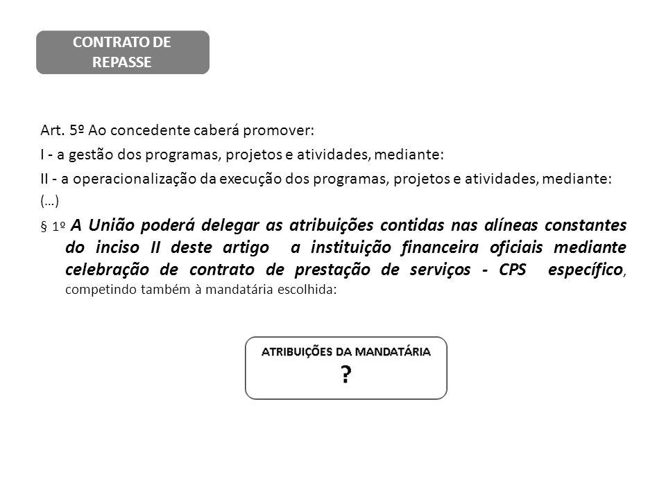 Art. 5º Ao concedente caberá promover: I - a gestão dos programas, projetos e atividades, mediante: II - a operacionalização da execução dos programas