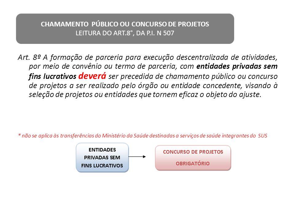 Art. 8º A formação de parceria para execução descentralizada de atividades, por meio de convênio ou termo de parceria, com entidades privadas sem fins