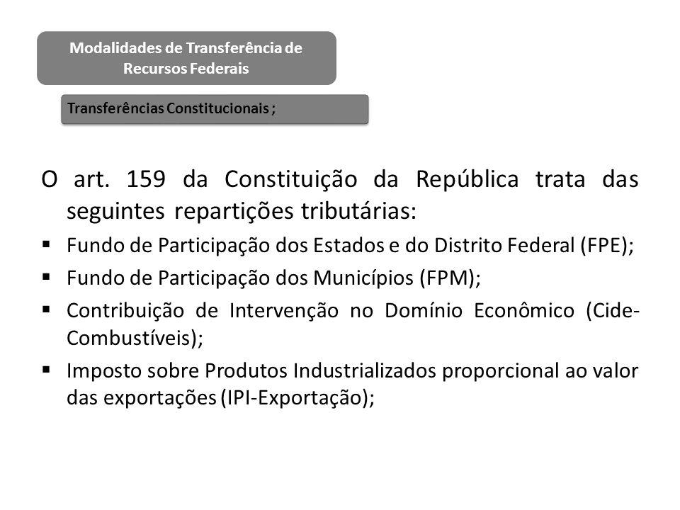 O art. 159 da Constituição da República trata das seguintes repartições tributárias:  Fundo de Participação dos Estados e do Distrito Federal (FPE);
