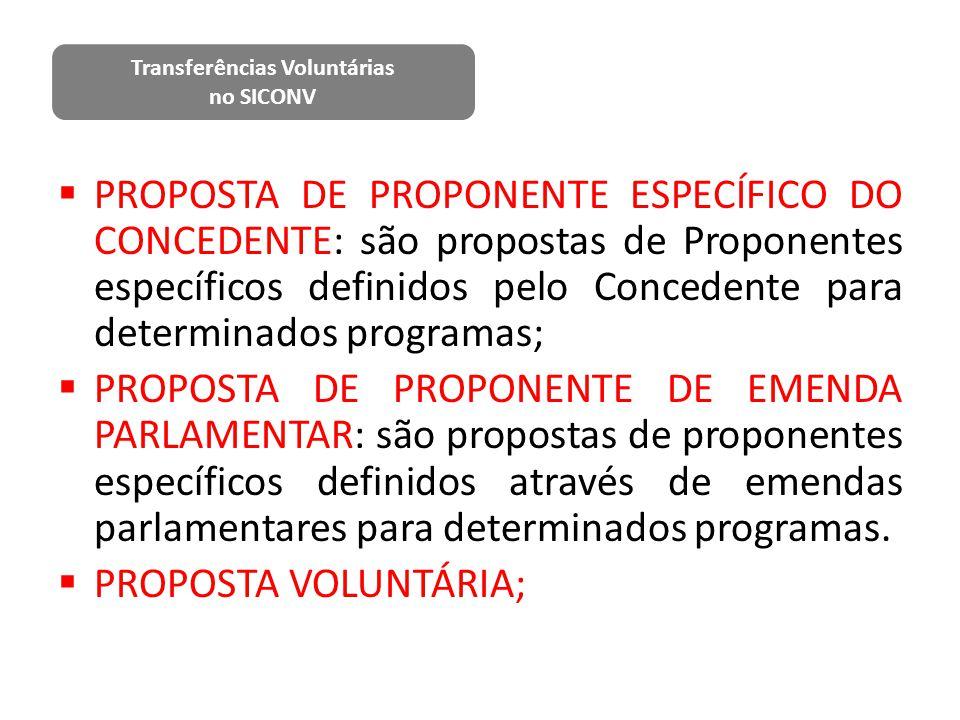  PROPOSTA DE PROPONENTE ESPECÍFICO DO CONCEDENTE: são propostas de Proponentes específicos definidos pelo Concedente para determinados programas;  P