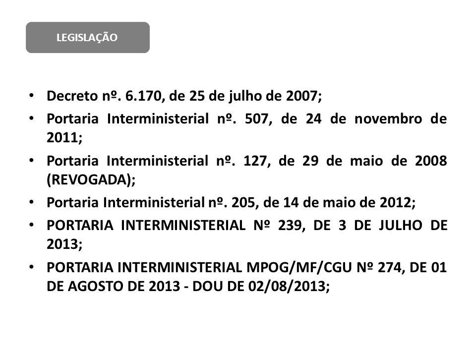 Decreto nº. 6.170, de 25 de julho de 2007; Portaria Interministerial nº. 507, de 24 de novembro de 2011; Portaria Interministerial nº. 127, de 29 de m