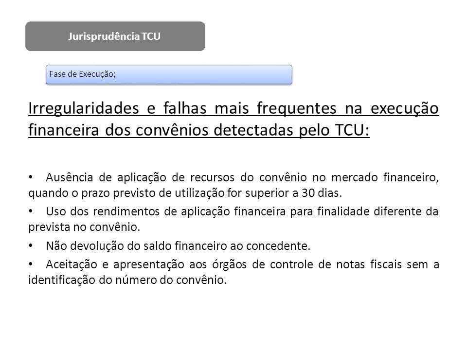 Irregularidades e falhas mais frequentes na execução financeira dos convênios detectadas pelo TCU: Ausência de aplicação de recursos do convênio no me
