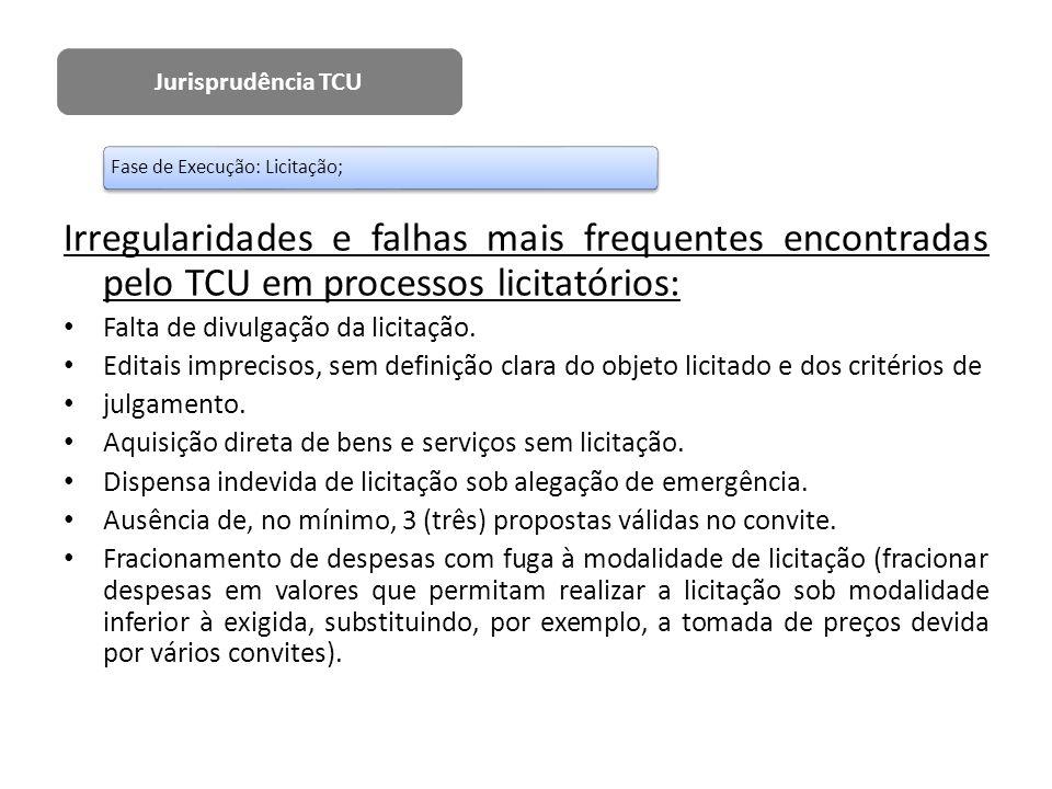Irregularidades e falhas mais frequentes encontradas pelo TCU em processos licitatórios: Falta de divulgação da licitação. Editais imprecisos, sem def