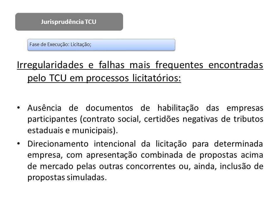 Irregularidades e falhas mais frequentes encontradas pelo TCU em processos licitatórios: Ausência de documentos de habilitação das empresas participan