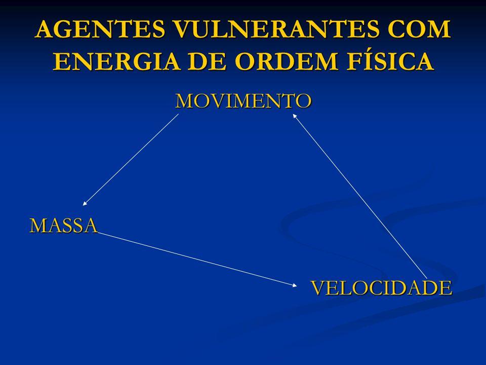 AGENTES VULNERANTES COM ENERGIA DE ORDEM FÍSICA MOVIMENTO MOVIMENTOMASSA VELOCIDADE VELOCIDADE