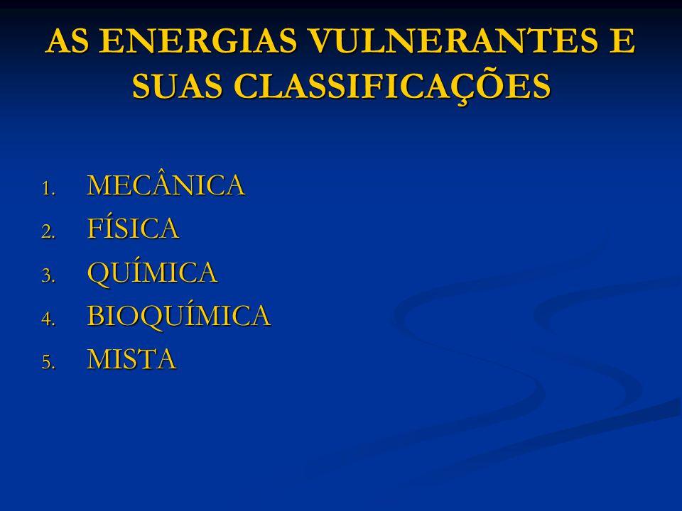 AS ENERGIAS VULNERANTES E SUAS CLASSIFICAÇÕES 1. MECÂNICA 2. FÍSICA 3. QUÍMICA 4. BIOQUÍMICA 5. MISTA