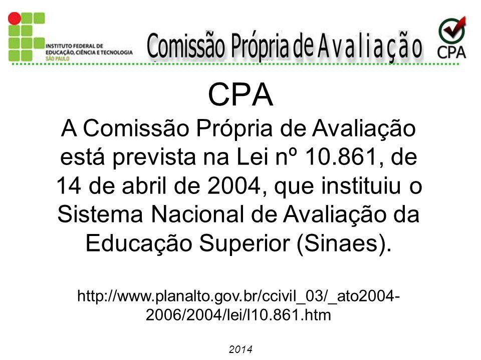 2014 A Comissão Própria de Avaliação está prevista na Lei nº 10.861, de 14 de abril de 2004, que instituiu o Sistema Nacional de Avaliação da Educação