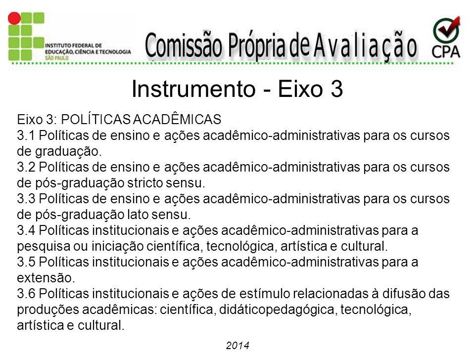 2014 Eixo 3: POLÍTICAS ACADÊMICAS 3.1 Políticas de ensino e ações acadêmico-administrativas para os cursos de graduação. 3.2 Políticas de ensino e açõ