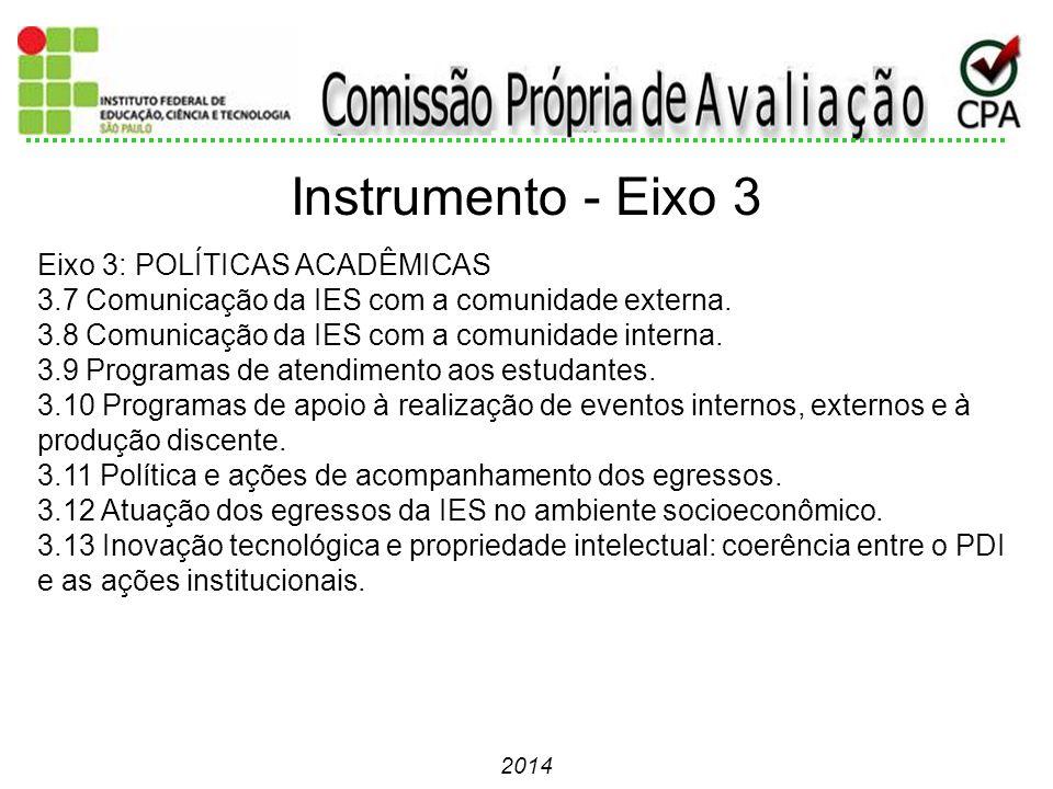 2014 Eixo 3: POLÍTICAS ACADÊMICAS 3.7 Comunicação da IES com a comunidade externa. 3.8 Comunicação da IES com a comunidade interna. 3.9 Programas de a