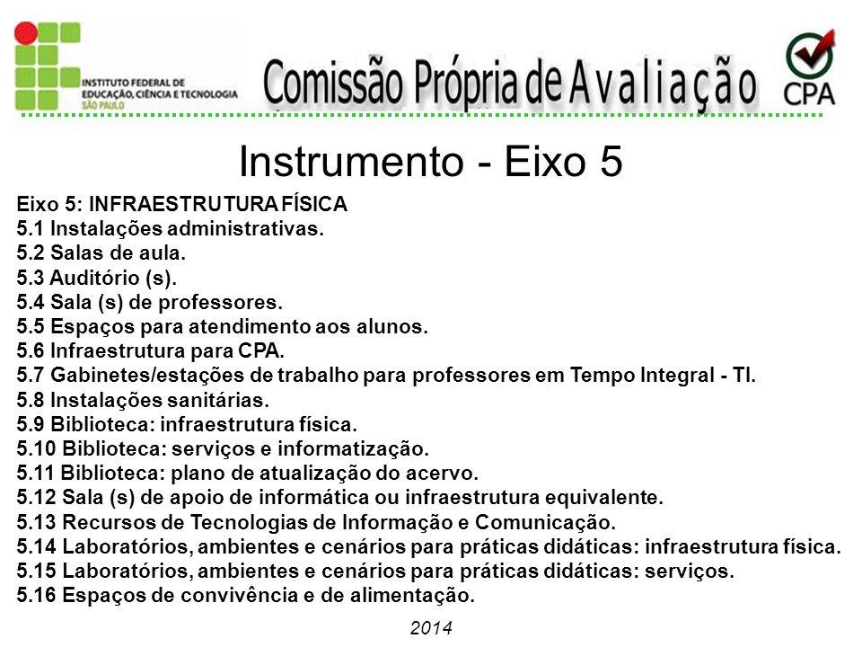 2014 Eixo 5: INFRAESTRUTURA FÍSICA 5.1 Instalações administrativas. 5.2 Salas de aula. 5.3 Auditório (s). 5.4 Sala (s) de professores. 5.5 Espaços par