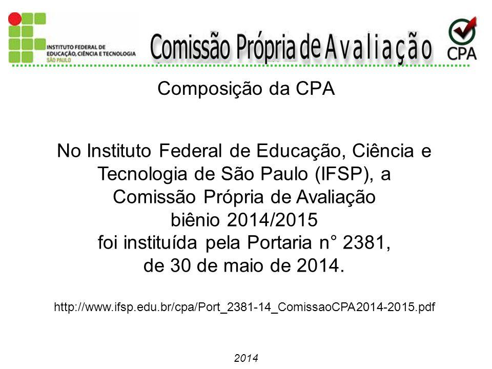 No Instituto Federal de Educação, Ciência e Tecnologia de São Paulo (IFSP), a Comissão Própria de Avaliação biênio 2014/2015 foi instituída pela Porta