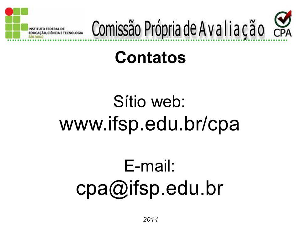 2014 Sítio web: www.ifsp.edu.br/cpa E-mail: cpa@ifsp.edu.br Contatos