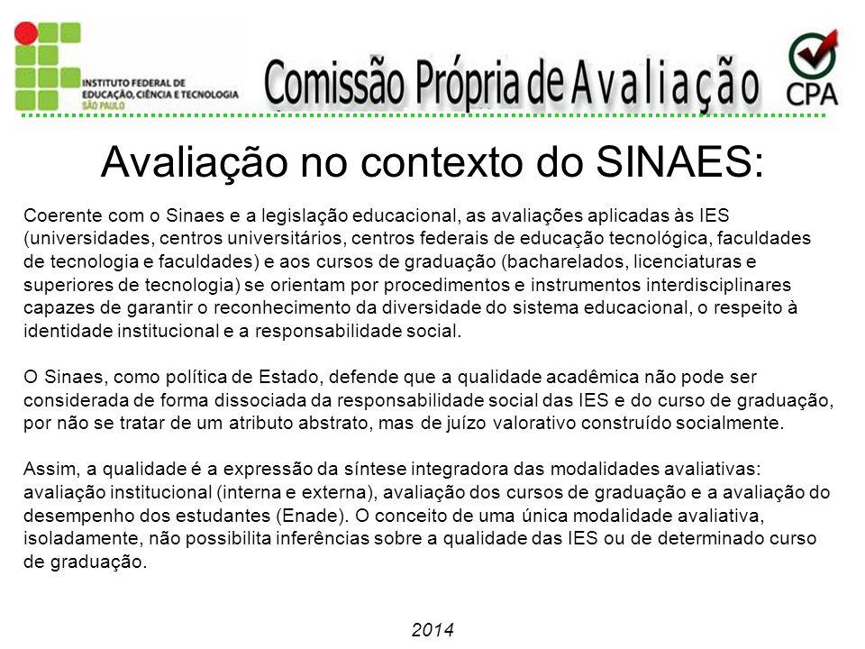 2014 Coerente com o Sinaes e a legislação educacional, as avaliações aplicadas às IES (universidades, centros universitários, centros federais de educ