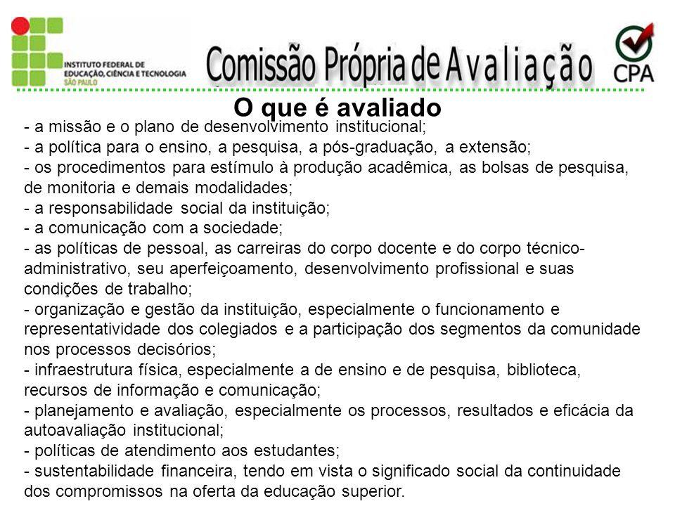 2014 - a missão e o plano de desenvolvimento institucional; - a política para o ensino, a pesquisa, a pós-graduação, a extensão; - os procedimentos pa