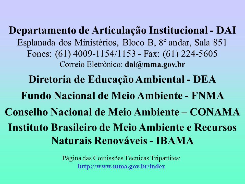 Departamento de Articulação Institucional - DAI Esplanada dos Ministérios, Bloco B, 8º andar, Sala 851 Fones: (61) 4009-1154/1153 - Fax: (61) 224-5605 Correio Eletrônico: dai@mma.gov.br Diretoria de Educação Ambiental - DEA Fundo Nacional de Meio Ambiente - FNMA Conselho Nacional de Meio Ambiente – CONAMA Instituto Brasileiro de Meio Ambiente e Recursos Naturais Renováveis - IBAMA Página das Comissões Técnicas Tripartites: http://www.mma.gov.br/index