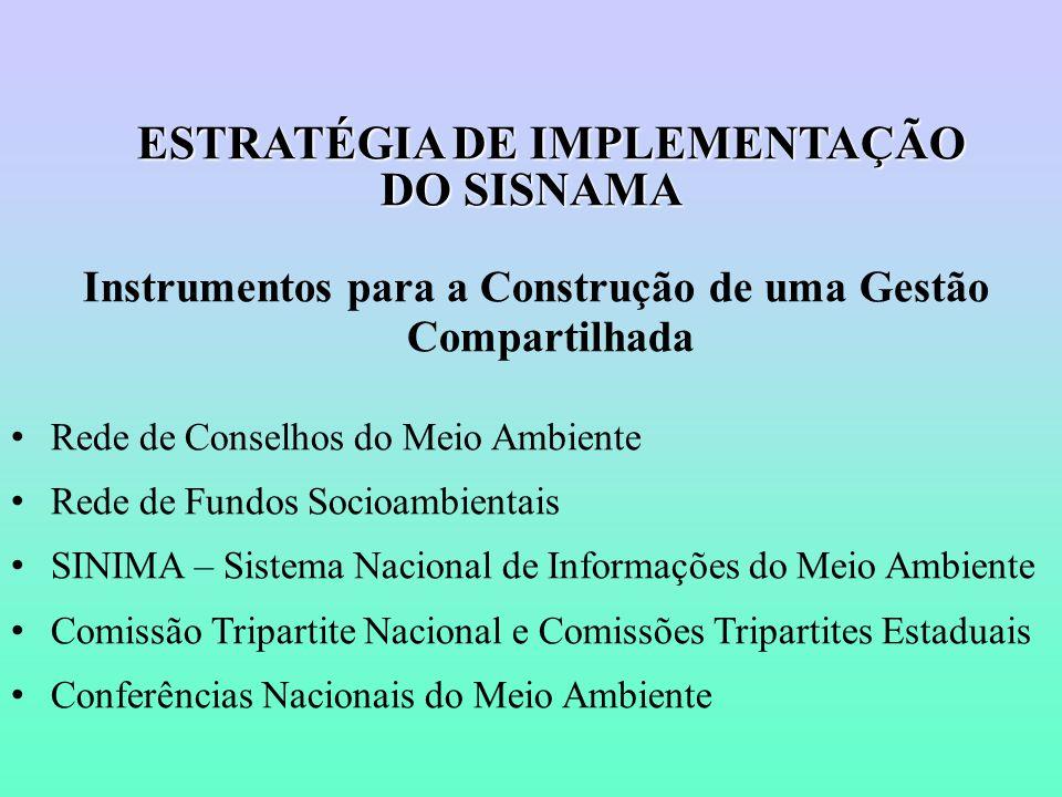 ESTRATÉGIA DE IMPLEMENTAÇÃO DO SISNAMA Instrumentos para a Construção de uma Gestão Compartilhada Rede de Conselhos do Meio Ambiente Rede de Fundos Socioambientais SINIMA – Sistema Nacional de Informações do Meio Ambiente Comissão Tripartite Nacional e Comissões Tripartites Estaduais Conferências Nacionais do Meio Ambiente