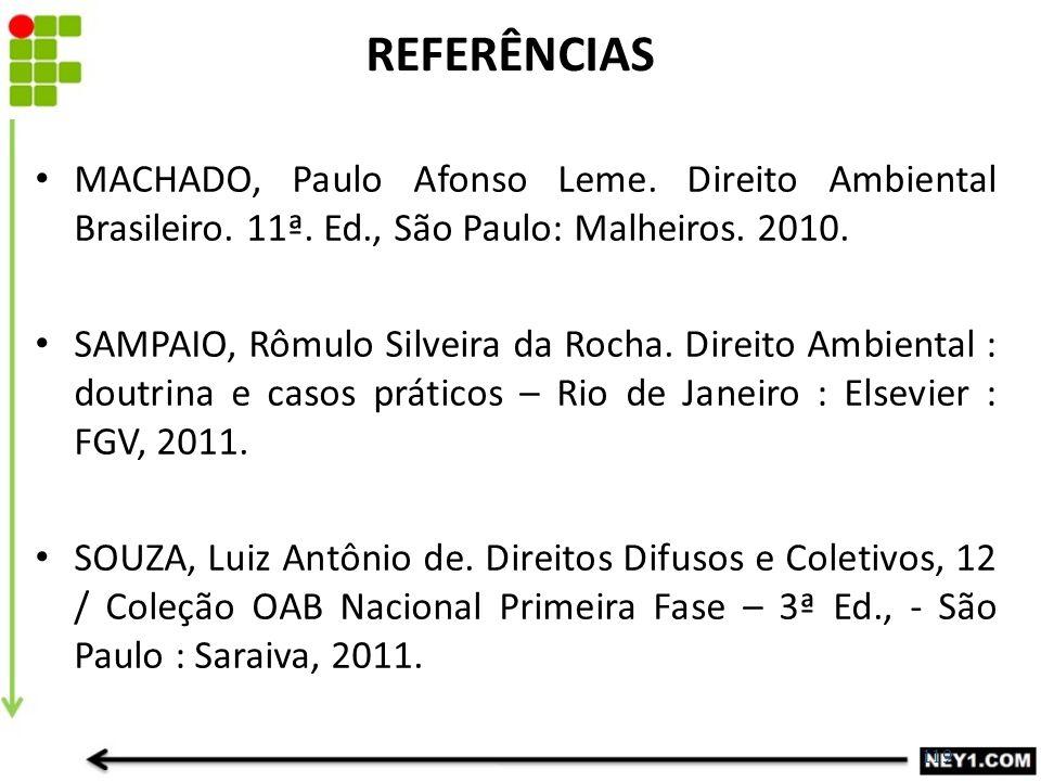 119 REFERÊNCIAS MACHADO, Paulo Afonso Leme. Direito Ambiental Brasileiro. 11ª. Ed., São Paulo: Malheiros. 2010. SAMPAIO, Rômulo Silveira da Rocha. Dir