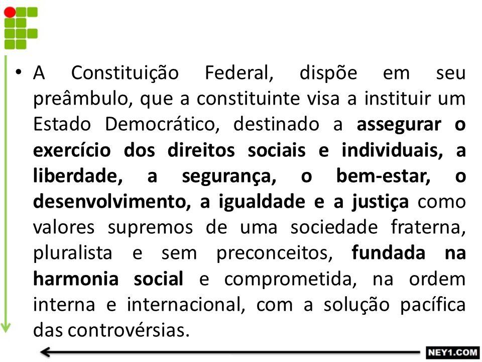 A Constituição Federal, dispõe em seu preâmbulo, que a constituinte visa a instituir um Estado Democrático, destinado a assegurar o exercício dos dire