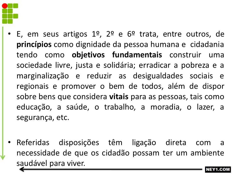 E, em seus artigos 1º, 2º e 6º trata, entre outros, de princípios como dignidade da pessoa humana e cidadania tendo como objetivos fundamentais constr