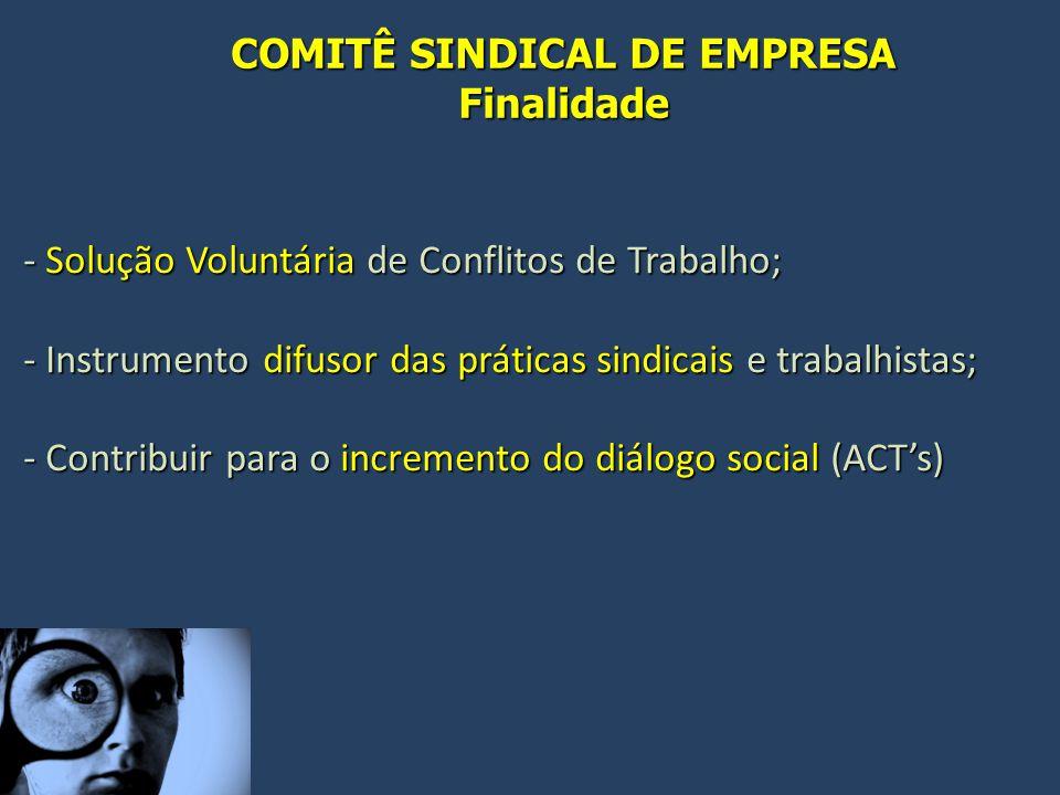 COMITÊ SINDICAL DE EMPRESA Finalidade - Solução Voluntária de Conflitos de Trabalho; - Instrumento difusor das práticas sindicais e trabalhistas; - Contribuir para o incremento do diálogo social (ACT's)