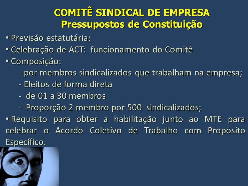 COMITÊ SINDICAL DE EMPRESA Pressupostos de Constituição Previsão estatutária; Previsão estatutária; Celebração de ACT: funcionamento do Comitê Celebra