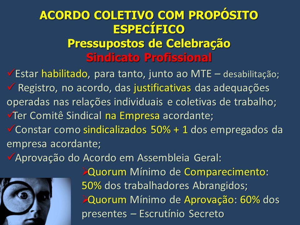 ACORDO COLETIVO COM PROPÓSITO ESPECÍFICO Pressupostos de Celebração Sindicato Profissional Estar habilitado, para tanto, junto ao MTE – desabilitação;