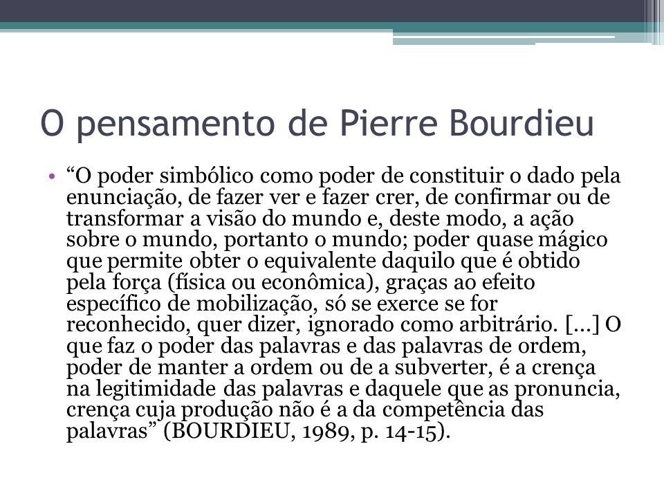 """O pensamento de Pierre Bourdieu """"O poder simbólico como poder de constituir o dado pela enunciação, de fazer ver e fazer crer, de confirmar ou de tran"""