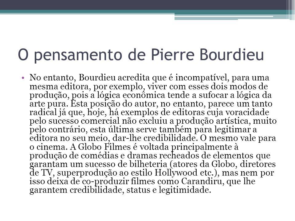 O pensamento de Pierre Bourdieu Esta oposição entre arte e dinheiro (comercial) é, para o autor, a maior geradora dos julgamentos no teatro, cinema, pintura e literatura, que pretende estabelecer a fronteira entre o que é ou não arte burguesa e arte intelectual.
