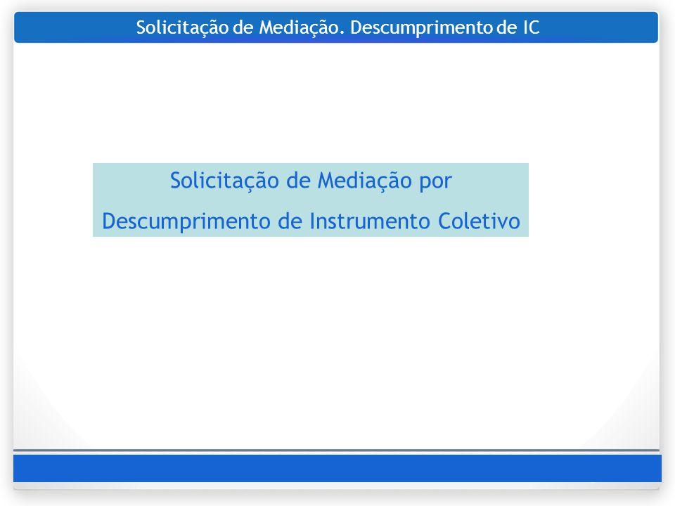 Solicitação de Mediação. Descumprimento de IC Solicitação de Mediação por Descumprimento de Instrumento Coletivo