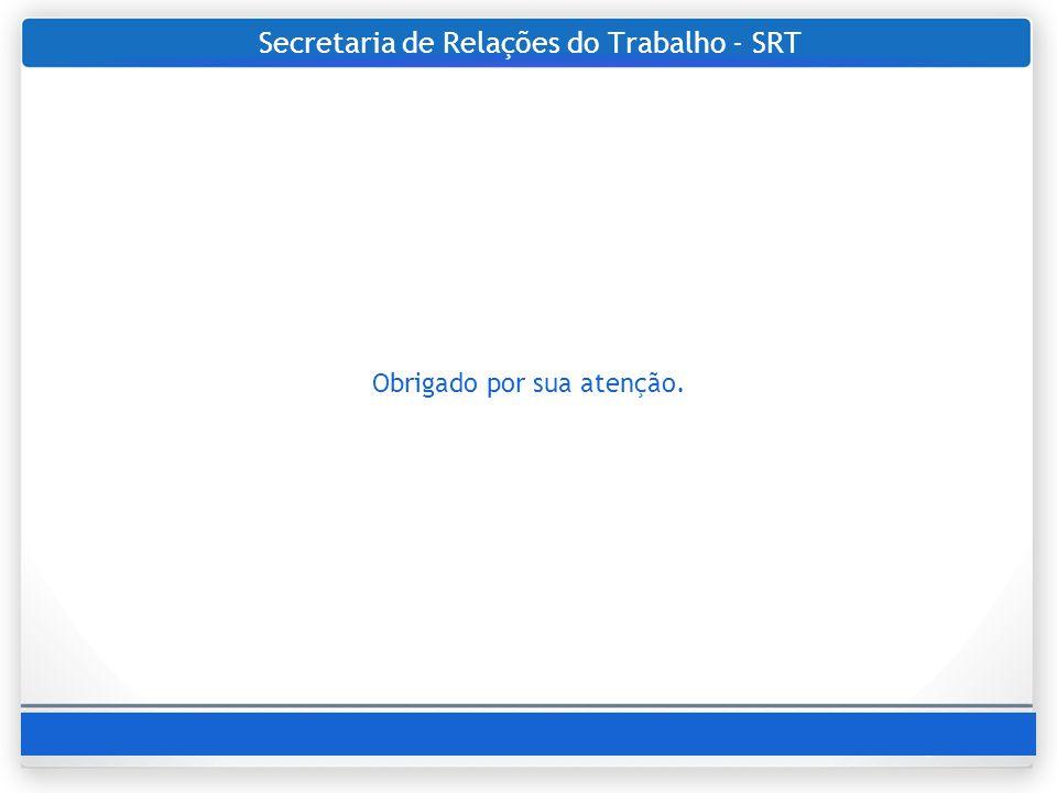 Secretaria de Relações do Trabalho - SRT Obrigado por sua atenção.