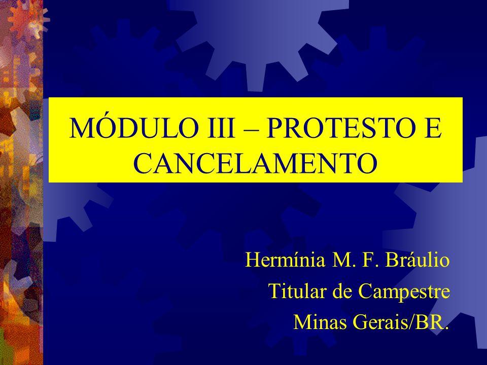 MÓDULO III – PROTESTO E CANCELAMENTO Hermínia M. F. Bráulio Titular de Campestre Minas Gerais/BR.