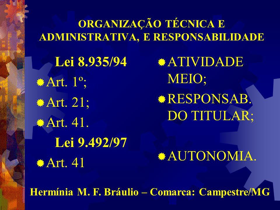 ORGANIZAÇÃO TÉCNICA E ADMINISTRATIVA, E RESPONSABILIDADE Lei 8.935/94  Art.
