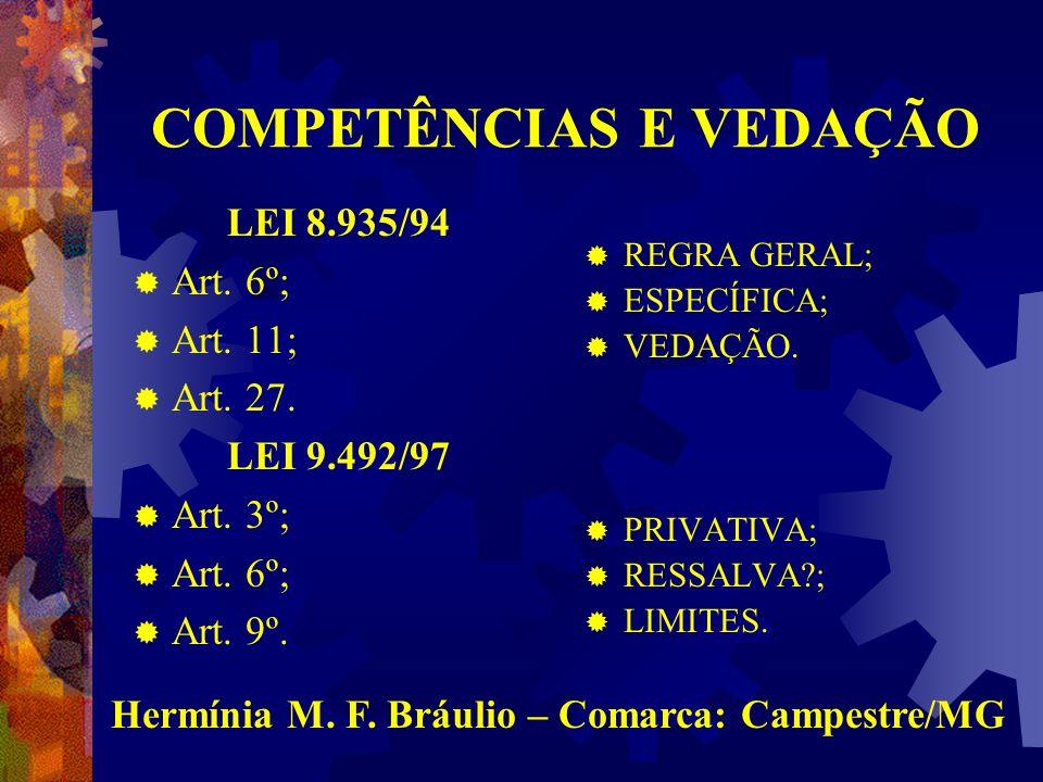 COMPETÊNCIA e PREVISÃO LEGAL Lei 8.935/94  Art.6º;  Art.