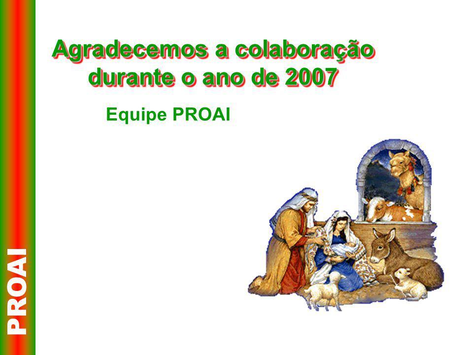 Agradecemos a colaboração durante o ano de 2007 PROAI Equipe PROAI