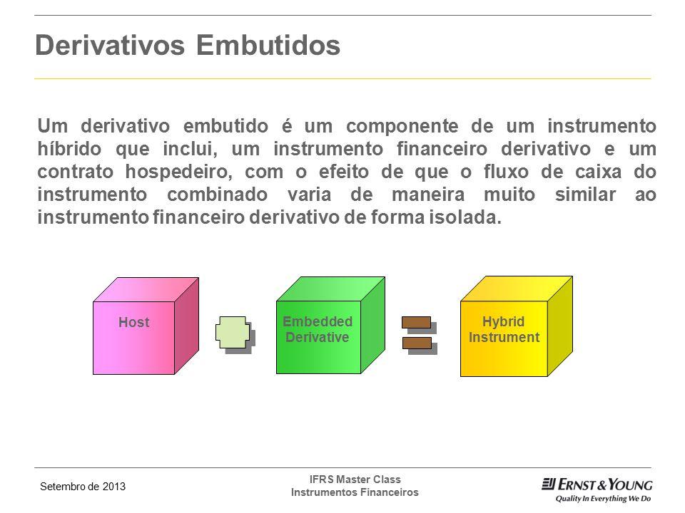 Setembro de 2013 IFRS Master Class Instrumentos Financeiros Derivativos Embutidos Host Embedded Derivative Hybrid Instrument Um derivativo embutido é