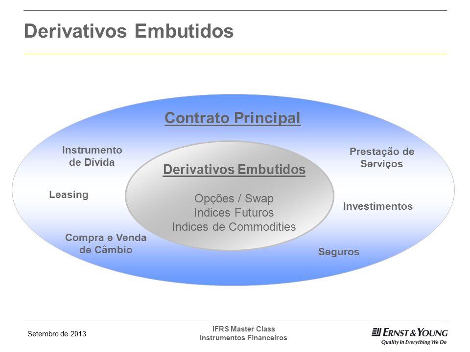 Setembro de 2013 IFRS Master Class Instrumentos Financeiros Derivativos Embutidos Contrato Principal Instrumento de Dívida Leasing Compra e Venda de C