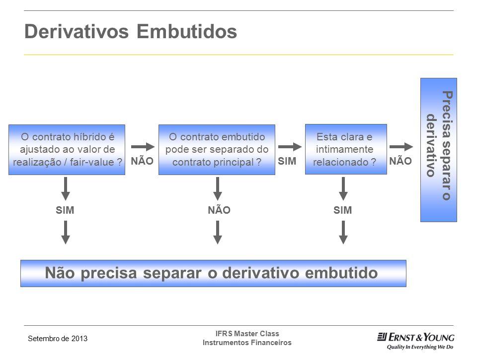Setembro de 2013 IFRS Master Class Instrumentos Financeiros Derivativos Embutidos O contrato híbrido é ajustado ao valor de realização / fair-value ?